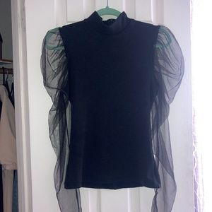 Victorian Inspired Sheer Puff Sleeve Blouse
